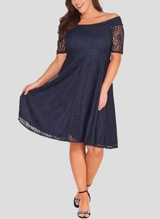 Φόρεμα Έξωμο Navy Δαντέλα cos_1 Maniags