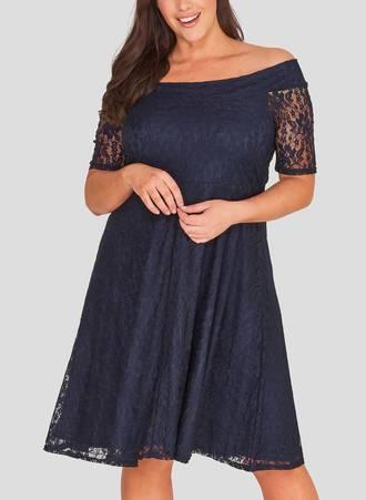 Φόρεμα Έξωμο Navy Δαντέλα Maniags