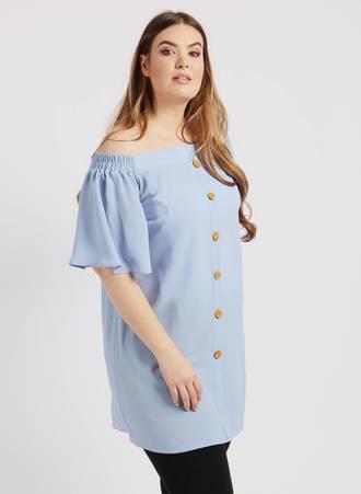 Μπλουζοφόρεμα Bardot Γαλάζιο d5204-blue Maniags