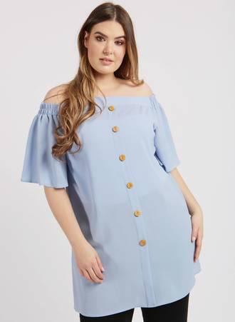 Μπλουζοφόρεμα Bardot Γαλάζιο Maniags