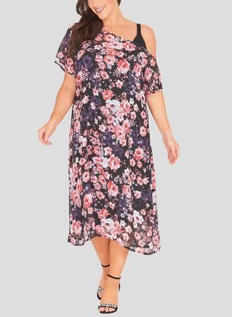 Φόρεμα Φλοράλ με Χαλαρό Ώμο havana_2 Maniags