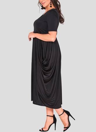Φόρεμα Μαύρο Ντραπέ hawksheadB_4 Maniags