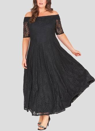 Φόρεμα Μαύρο Maxi Δαντέλα marbleB_1 Maniags