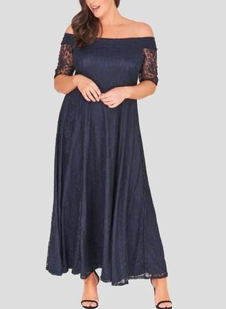 Φόρεμα Navy Maxi Δαντέλα marble_1 Maniags