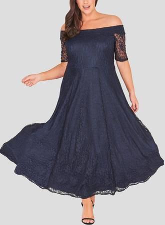 Φόρεμα Navy Maxi Δαντέλα Maniags