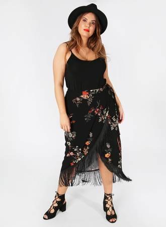 Φούστα Μαύρη Φλοραλ με Κρόσσια maya2401201830606 Maniags