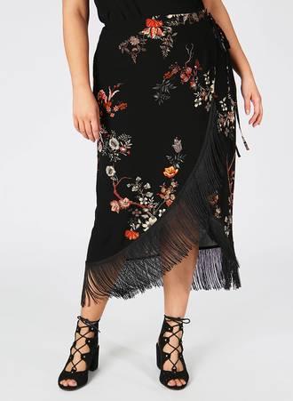 Φούστα Μαύρη Φλοραλ με Κρόσσια Maniags