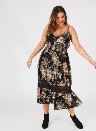 3998cc8e0ee3 Φόρεμα Μαύρο Maxi Αμάνικο Φλοράλ Maniags