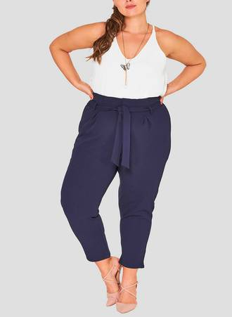 Παντελόνι Paper Bag Navy paper-bag-plus-size-waist-trousers-wholesale-navy-3 Maniags