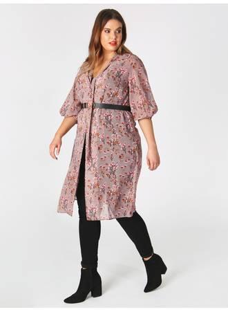 Πουκάμισο Φόρεμα Ροζ Φλοράλ pl4-01-132_1_1 Maniags