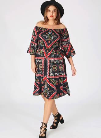 Φόρεμα Έξωμο Scarf Print Maniags