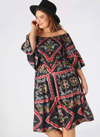 Φόρεμα Έξωμο Scarf Print pl4-12-156_2 Maniags