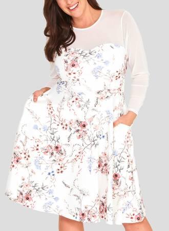 Φόρεμα Φλοράλ με Ιδιαίτερη Λαιμόκοψη Maniags
