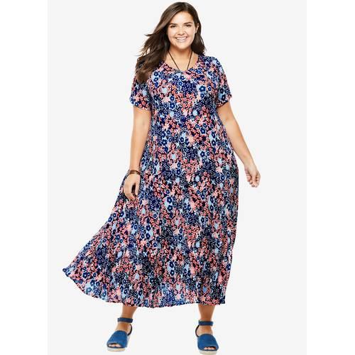 d61c22011d63 ΜΕΓΑΛΑ ΜΕΓΕΘΗ ΦΟΡΕΜΑΤΑ    Φλοραλ Φόρεμα Μάξι Γκοφρέ - Μόδα σε μεγάλα μεγέθη