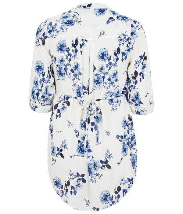 Πουκάμισο Μάο Γιακά White_Blue_Floral_Pintuck_Longline_Blouse_With_Beading_Detail_130250_31ce Maniags