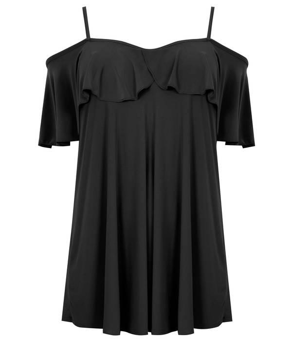 Μπλούζα Έξωμη Μαύρη με Βολάν Maniags