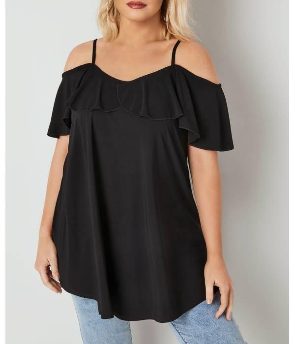 Μπλούζα Έξωμη Μαύρη με Βολάν Black_Slinky_Jersey_Frill_Cold_Shoulder_Top_134353_299f Maniags