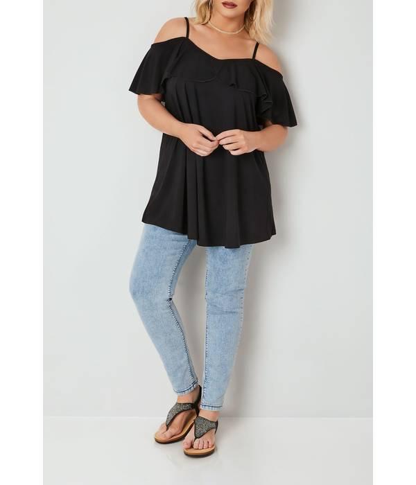 Μπλούζα Έξωμη Μαύρη με Βολάν Black_Slinky_Jersey_Frill_Cold_Shoulder_Top_134353_c40e Maniags