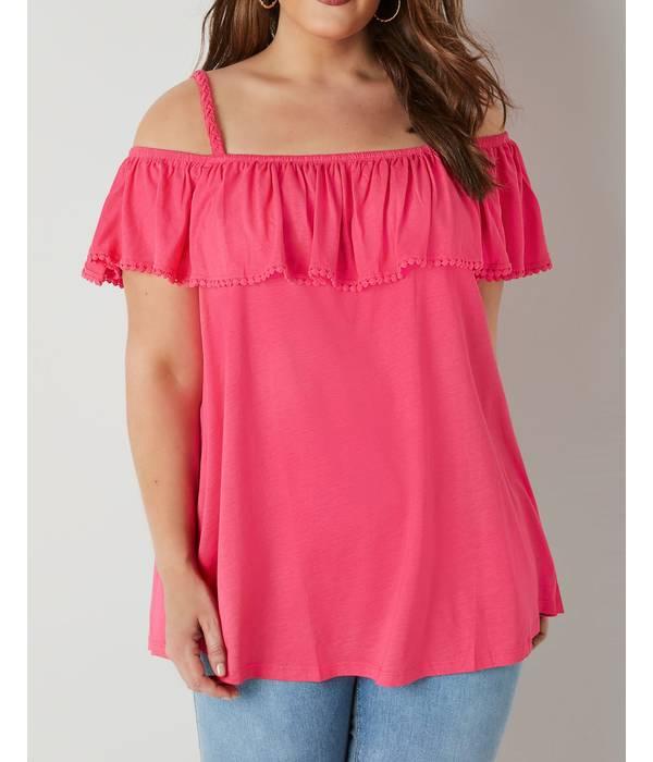Μπλούζα Έξωμη Φούξια Bright_Pink_Longline_Frilled_Bardot_Top_132601_0a13 Maniags
