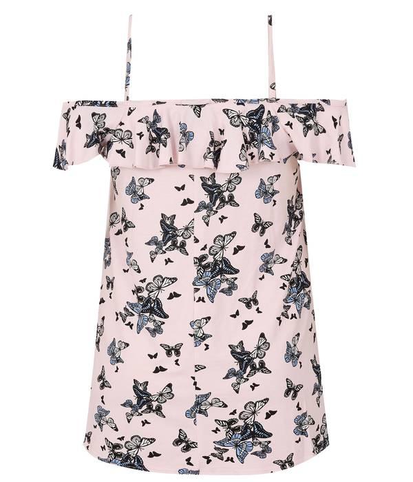 Μπλούζα Έξωμη Ροζ με Σχέδιο Πεταλούδα Light_Pink_Butterfly_Print_Frill_Cold_Shoulder_Top_132727_5a93 Maniags