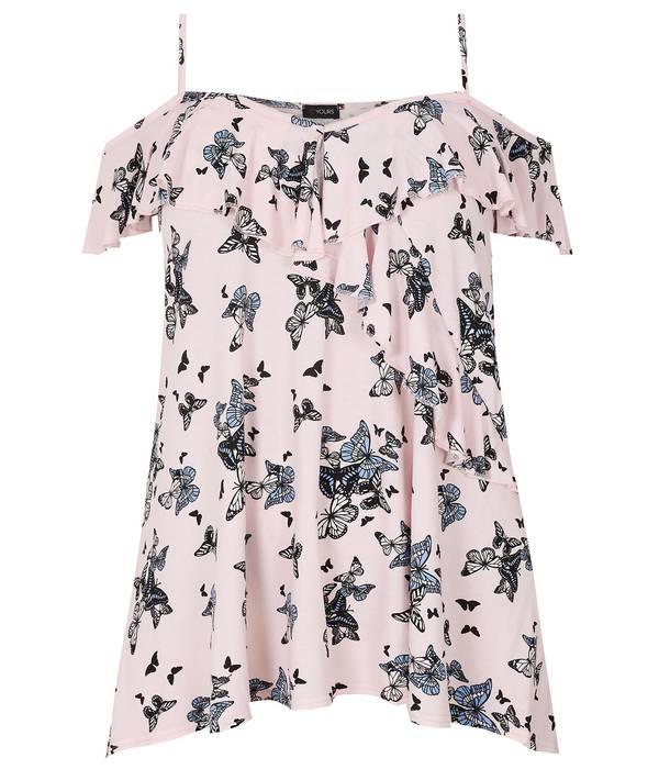 Μπλούζα Έξωμη Ροζ με Σχέδιο Πεταλούδα Maniags