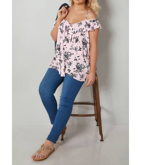 Μπλούζα Έξωμη Ροζ με Σχέδιο Πεταλούδα Light_Pink_Butterfly_Print_Frill_Cold_Shoulder_Top_132727_c9b0 Maniags