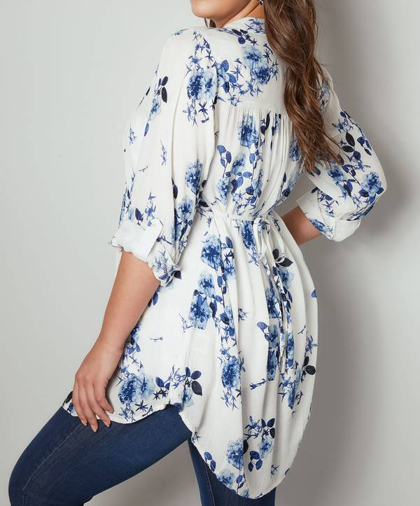 Πουκάμισο Μάο Γιακά White_Blue_Floral_Pintuck_Longline_Blouse_With_Beading_Detail_130250_dea0 Maniags