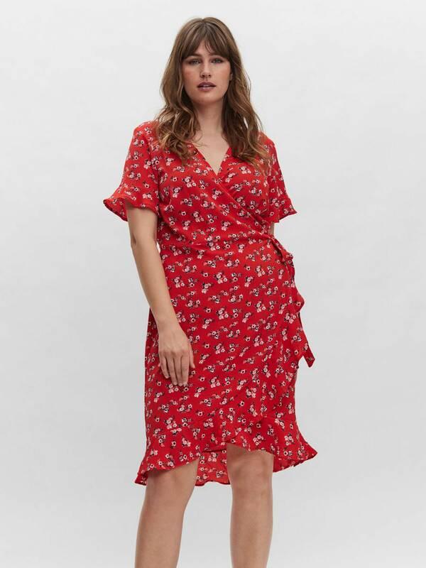 Κόκκινο Φόρεμα Φλοράλ Κρουαζέ Maniags