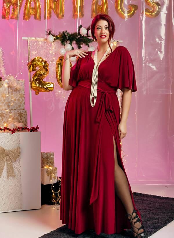 Φόρεμα Μάξι Ντραπέ Μπορντό 2019_12_11-Maniags3353 Maniags