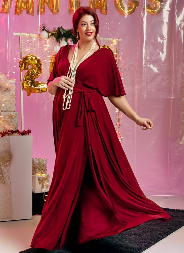 Φόρεμα Μάξι Ντραπέ Μπορντό Maniags