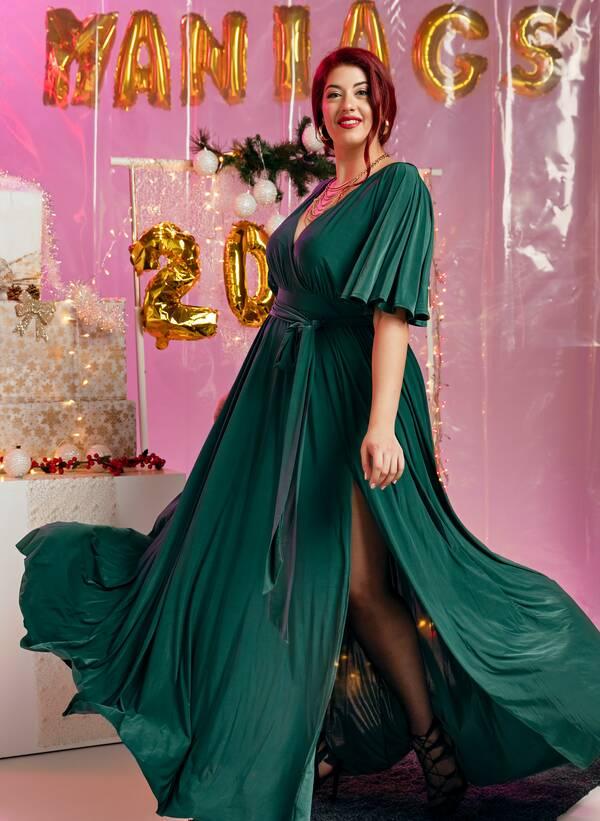 Φόρεμα Μάξι Ντραπέ Σμαραγδί 2019_12_11-Maniags3461 Maniags