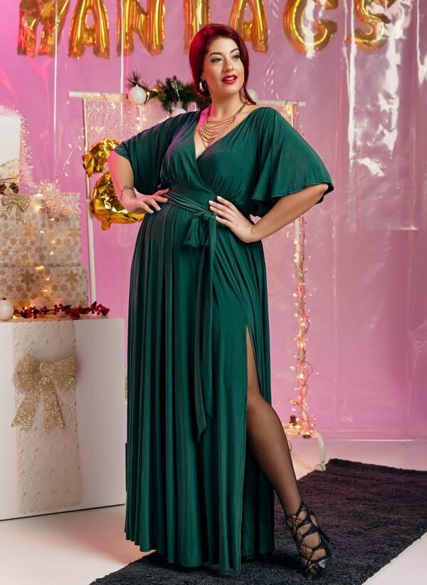 Φόρεμα Μάξι Ντραπέ Σμαραγδί Maniags