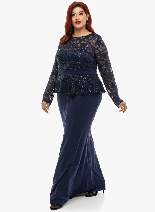 Φόρεμα Μάξι Navy με Δαντέλα 2019_12_11-Maniags4689 Maniags