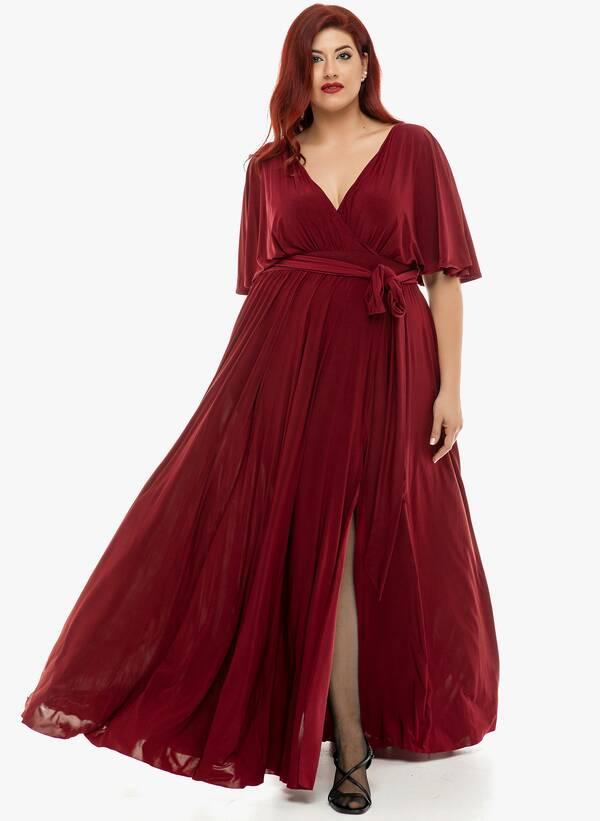 Φόρεμα Μάξι Ντραπέ Μπορντό 2019_12_11-Maniags4826 Maniags