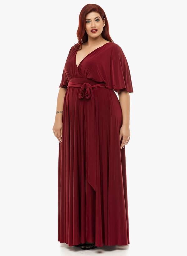 Φόρεμα Μάξι Ντραπέ Μπορντό 2019_12_11-Maniags4832 Maniags