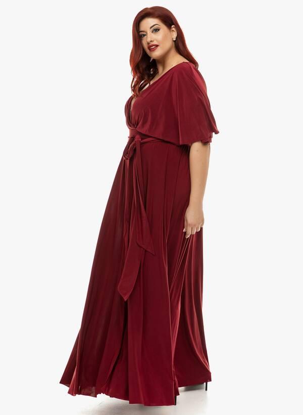 Φόρεμα Μάξι Ντραπέ Μπορντό 2019_12_11-Maniags4836 Maniags