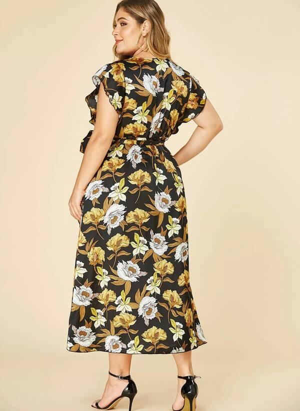 Φόρεμα Μαύρο Φλοραλ Κρουαζέ Untitled-83 Maniags