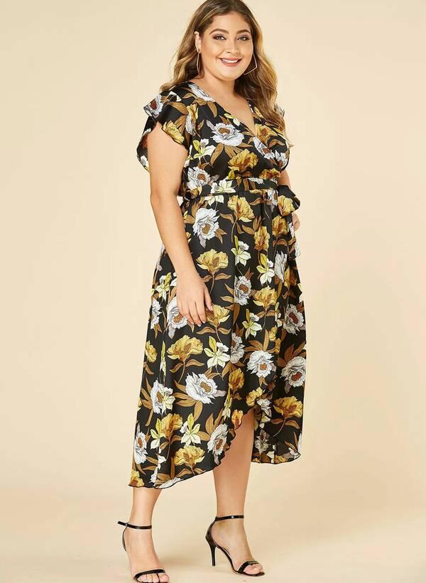 Φόρεμα Μαύρο Φλοραλ Κρουαζέ Untitled-86 Maniags