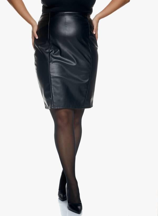 Μαύρη Midi Φούστα Δερματίνης Maniags