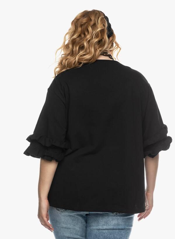 Μπλούζα με Βολάν στο Μανίκι Μαύρη 2021_03_26-Maniagz1136 Maniags