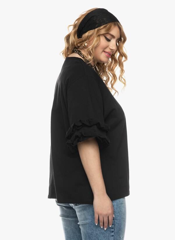 Μπλούζα με Βολάν στο Μανίκι Μαύρη 2021_03_26-Maniagz1141 Maniags