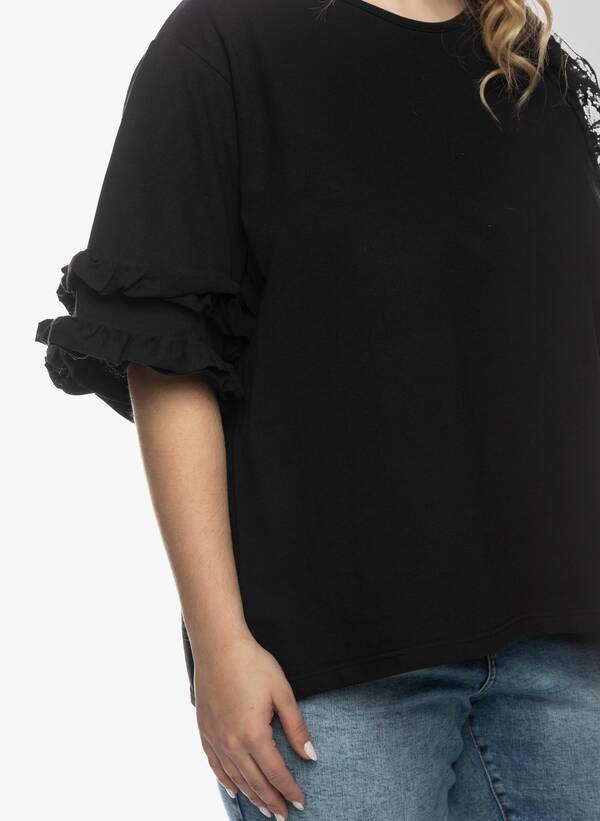 Μπλούζα με Βολάν στο Μανίκι Μαύρη 2021_03_26-Maniagz1153 Maniags