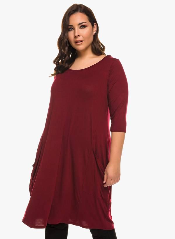 Φόρεμα Βισκόζης Μπορντό με Στρογγυλή Λαιμόκοψη Maniags