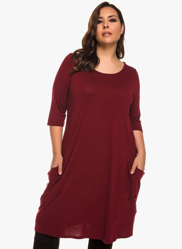 Φόρεμα Βισκόζης Μπορντό με Στρογγυλή Λαιμόκοψη 0922 Maniags