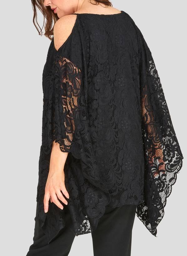 Αμπιγιέ Δαντελένια Μπλούζα με Χαλαρό Μανίκι 50790_1 Maniags