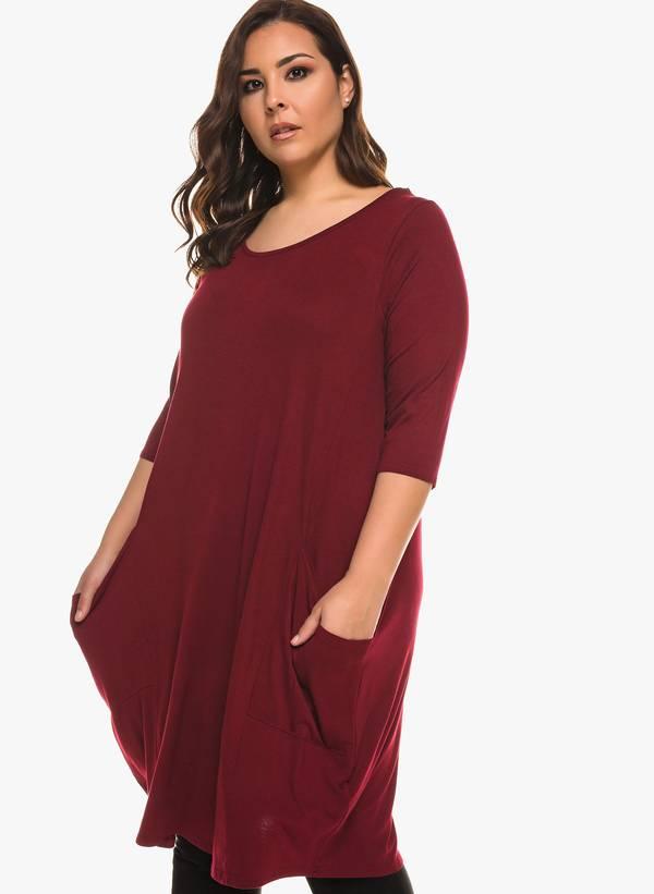 Φόρεμα Βισκόζης Μπορντό με Στρογγυλή Λαιμόκοψη 0923 Maniags