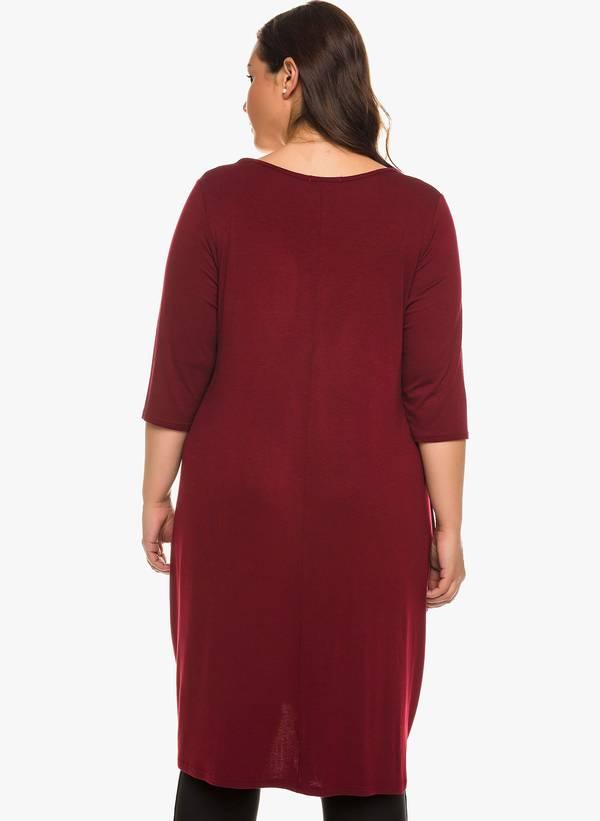 Φόρεμα Βισκόζης Μπορντό με Στρογγυλή Λαιμόκοψη 0924 Maniags