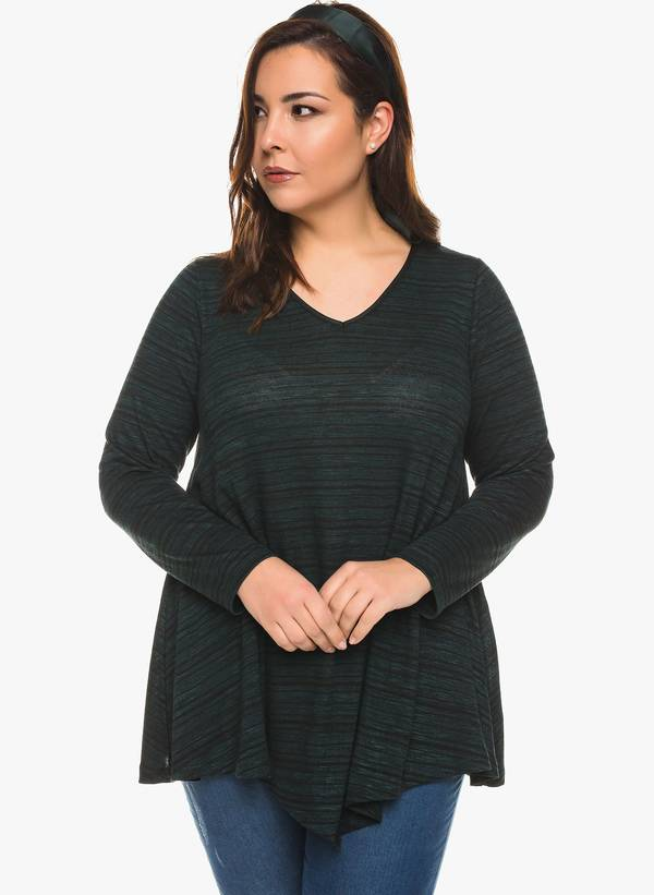 Ασύμμετρη Μπλούζα V Λαιμόκοψη (Πράσινη) 0124 Maniags