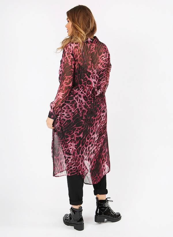 Πουκάμισο Μακρύ Διαφανές Ροζ Leopard pl3-12-78_2 Maniags