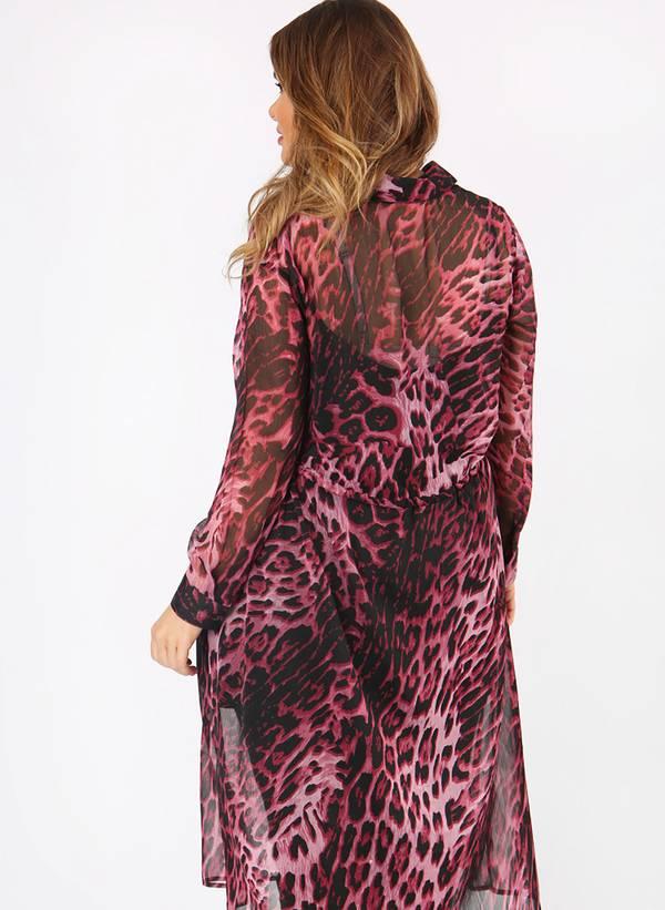 Πουκάμισο Μακρύ Διαφανές Ροζ Leopard pl3-12-78_5 Maniags